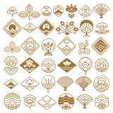 Fan- och Lotus Fancy Icons Vector Illustration uppsättning stock illustrationer