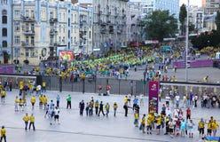 fan olimpijski idą stadium piłkarski Zdjęcie Royalty Free