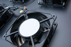 Detailed view of an electrical cooling fan used in a computer Data Centre. stock photo