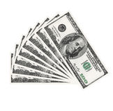 Fan of one hundred dollars over white background Royalty Free Stock Photography