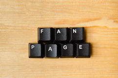 Fan page. Word with keyboard buttons Royalty Free Stock Photos
