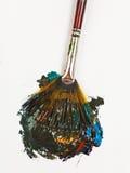 Fan paintbrush miesza stubarwne akwarele fotografia royalty free