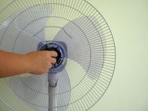Fan parts installation for this summer`s welcome. stock image