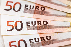 Fan pięćdziesiąt euro banknotów Obraz Royalty Free