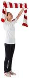 Fan piłki nożnej falowania bielu i czerwieni szalik Obrazy Royalty Free