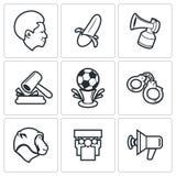 Fan piłki nożnej i rasizm ikony również zwrócić corel ilustracji wektora ilustracji