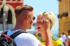 Fan piłki nożnej maluje twarze Zdjęcia Royalty Free