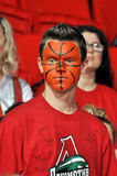 Fan with a picture a basketball on his face Royalty Free Stock Image