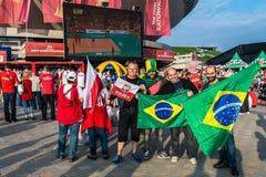 Fan polacchi e brasiliani Immagine Stock Libera da Diritti