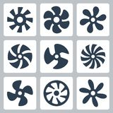 Fan propellers vector icons Royalty Free Stock Photos