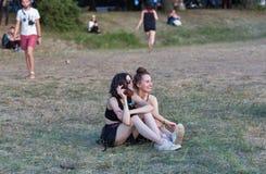 Fan przy atlanta Weekendowym festiwalem muzyki w Kijów, Ukraina Zdjęcie Stock
