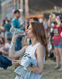 Fan przy atlanta Weekendowym festiwalem muzyki w Kijów, Ukraina Zdjęcia Royalty Free