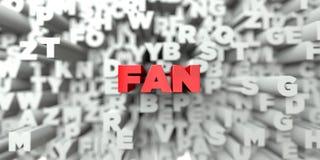 FAN - Röd text på typografibakgrund - 3D framförde fri materielbild för royalty Royaltyfri Fotografi