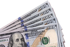 Fan $100 rachunków odizolowywających Fotografia Royalty Free