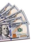 Fan $100 rachunków odizolowywających Zdjęcia Stock