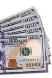 Fan $100 rachunków odizolowywających Zdjęcie Stock