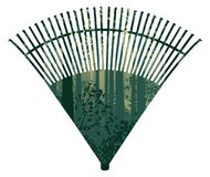 Fan rake with forest. Autumn forest landscape inside of a fan rake design illustration stock illustration