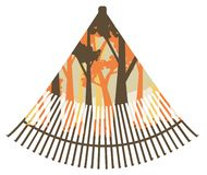 Fan rake with forest. Autumn forest landscape inside of a fan rake design illustration royalty free illustration