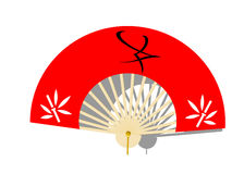 Fan. Fan of red color and hieroglyph Stock Photography