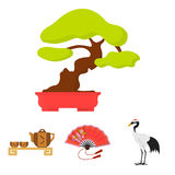 Fan, red crown crane, tea ceremony, bonsai.Japan set collection icons in cartoon style vector symbol stock illustration Royalty Free Stock Photo