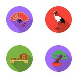 Fan, red crown crane, tea ceremony, bonsai.Japan set collection icons in flat style vector symbol stock illustration web Royalty Free Stock Image