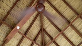 Fan at the roof. At tropical villa stock footage