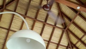 Fan at the roof. At tropical villa stock video footage