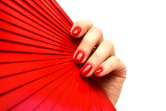 Fan rouge à disposition Image libre de droits