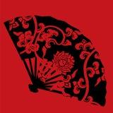 Fan rouge et noire chinoise de lotus Photo stock
