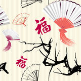 Fan and sakura Royalty Free Stock Image