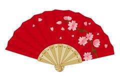 Fan se pliante japonaise de vintage avec Sakura Photo stock