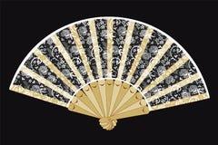 Fan se pliante tenue dans la main de vintage avec les dentelles blanches Photo libre de droits