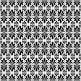 Fan Shaped Flower Seamless Pattern. Stylized palm leaf tiles on square distribution. Classical radiating motif, common in Egyptian, Greek and Assyrian ancient Stock Image