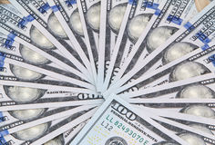 Fan shaped one hundred dollars Royalty Free Stock Image