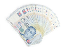 Fan shaped singapore dollar notes Stock Image