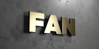 Fan - signe d'or monté sur le mur de marbre brillant - illustration courante gratuite de redevance rendue par 3D Image stock