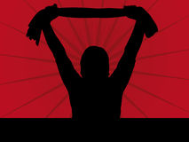Fan Silhouette. Illustration on a red Background Stock Photos