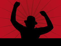 Fan Silhouette. Illustration on a red Background Royalty Free Stock Photos