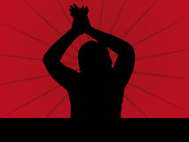 Fan Silhouette. Illustration on a red Background Royalty Free Stock Image
