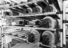 Fan silniki na rolownika grawitacyjnym przygotowywającym używać obrazy stock