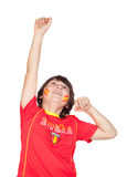 Fan of the Spanish team celebrating a goal Royalty Free Stock Photo