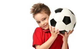 Fan sport boy player hold soccer ball in red t-shirt celebrating happy smiling laughing free text copy space Stock Images