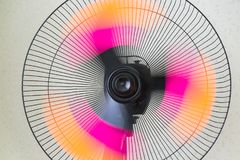 The fan of the stand. Copper retro fan. Vintage electric fan. Metal fan. Pedestal. Cooling fans. Objects Royalty Free Stock Photo
