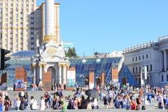 Fan strefa jest finałem UEFA champions league Miasto Kijów Ukraina Zdjęcia Stock