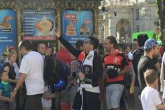 Fan strefa jest finałem UEFA champions league Miasto Kijów Ukraina Obrazy Royalty Free