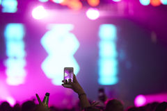 Fan Taking Photo On Mobile Phone At Music Festival Royalty Free Stock Image