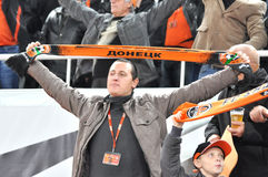Fan team Shakhtar pulled his scarf Royalty Free Stock Images