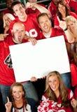 Fan: Tenuta del segno in bianco al gioco Fotografia Stock