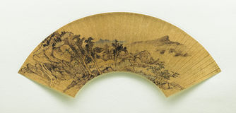 Fan traditionnelle chinoise de peinture Photos libres de droits