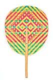 Fan traditionnelle en bambou de main d'armure de couleur Image libre de droits